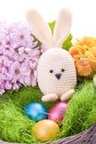 Handmade Easter królik z kolorowymi kwiatami Obraz Royalty Free