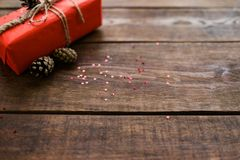 Handmade eco gift on wooden background Royalty Free Stock Photos
