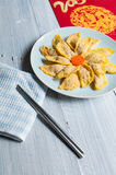 Handmade egg dumplings for the Spring Festival of China Stock Photo