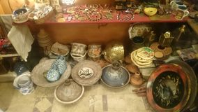 Handmade Egyptian pottery and Jewellery. In a small shop in Maadi,  Cairo Royalty Free Stock Photo