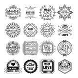 Handmade emblematy w Liniowym Stylowym wektorze Zdjęcia Royalty Free