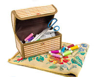 Handmade embroidery and box Royalty Free Stock Image