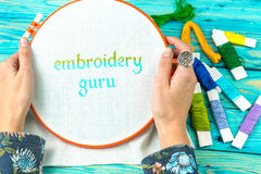 Handmade Embroidery words Stock Images