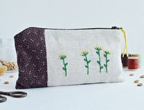 Handmade embroidery zipper pouch stock image
