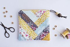 Handmade embroidery zipper pouch stock photos