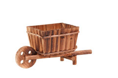 Handmade empty wooden cart standing isolated Royalty Free Stock Image