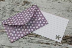 Handmade envelope and blank letter Stock Images