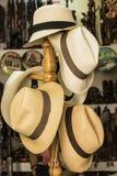 Handmade Equatorian Panama hats Stock Photos