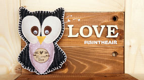 Handmade fabric black owl. Wooden panel sign with `love is in the air` message on wooden background with lovely owl Stock Image