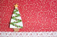 Handmade fabric Christmas tree. Stock Image