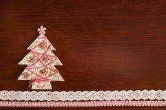 Handmade fabric Christmas tree. Royalty Free Stock Photo