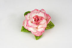Handmade fabric flowers on a white background foamiran Stock Image