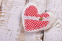 Handmade fabric heart for valentines Royalty Free Stock Images