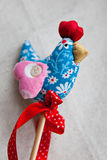 Handmade fabric rooster Stock Image
