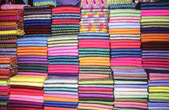 Handmade fabrics of different colors, Pakokku,Myanmar Stock Photography