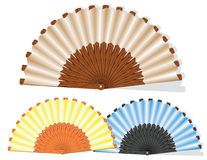 Handmade fan. Vector image of a hand fan. Performed in different colors Stock Image