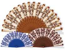 Handmade fan. Vector image of a hand fan. Performed in different colors Stock Photography