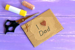 Handmade fathers day card. Royalty Free Stock Photography