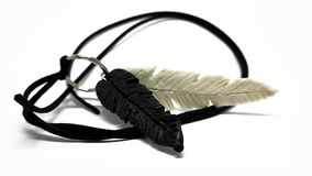 Handmade feather necklace stock images
