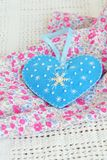 Handmade felt Christmas heart toy. Easy crafts for kids Royalty Free Stock Image