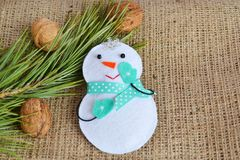 Handmade felt Christmas snowman toy. Kids craft Royalty Free Stock Photography