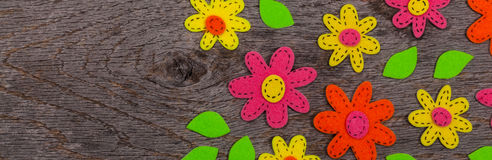 Handmade Felt Fabric Flowers. Background. Selective focus Royalty Free Stock Images