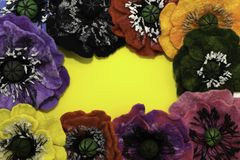 Handmade felt, flowers stock photography