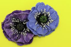 Handmade felt, flowers stock images