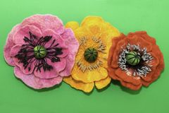 Handmade felt, flowers royalty free stock photos