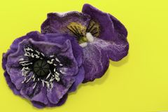Handmade felt, flowers stock photos