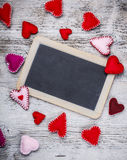 Handmade felt hearts Royalty Free Stock Photos