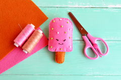 Handmade felt ice, felt food toy. Summer textile craft project. Summer crafts for kids. Stock Photography