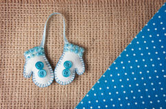 Handmade felt mitten Stock Photo