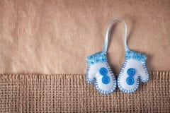 Handmade felt mittens Royalty Free Stock Image