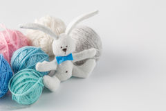 Handmade felt toy with colored wool clew Stock Photography