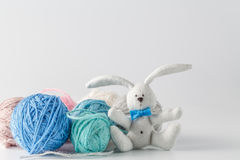 Handmade felt toy with colored wool clew Royalty Free Stock Photography