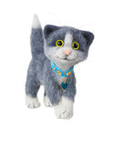 Handmade felted toy cat Royalty Free Stock Photo