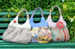 Handmade female bags Royalty Free Stock Image