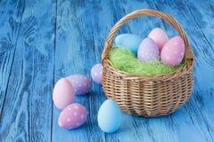 Handmade festive easter eggs on blue background Stock Photography