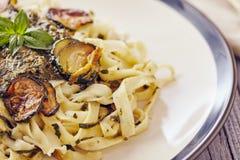 Handmade fettuccine pasta Stock Images