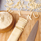 Handmade fettuccine pasta. On a table Stock Image