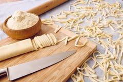Handmade fettuccine pasta. On a table stock photos