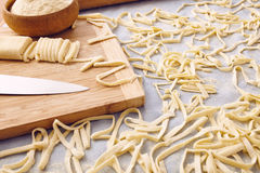 Handmade fettuccine pasta. On a table Royalty Free Stock Image