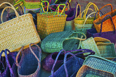 Handmade fibre baskets. Scattered colorful handmade natural fibre baskets Royalty Free Stock Photos