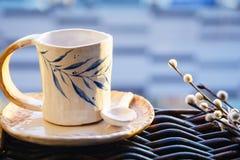 Handmade filiżanka i spodeczek Obrazy Royalty Free