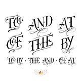 Handmade fineline tattoo set. Handmade vector calligraphy tattoo lettering set with to, and, at, of, the, by Stock Image