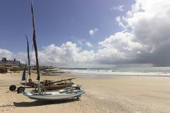 Handmade fishing boats - Genipabu beach in Natal, RN, Brazil Royalty Free Stock Image