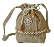 Handmade flax purse Royalty Free Stock Photo
