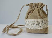Handmade flax purse Stock Photography