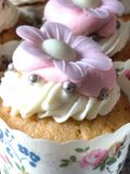 Handmade Floral Cupcakes. Celebration party handmade floral cupcakes Stock Photos